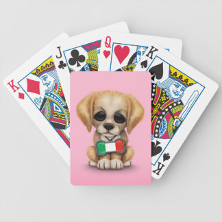 Cute Puppy with Italian Flag Pet Tag Pink Bicycle Card Deck