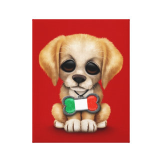 Cute Puppy with Italian Flag Pet Tag, Red Stretched Canvas Prints