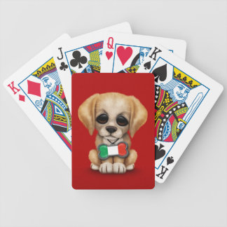 Cute Puppy with Italian Flag Pet Tag Red Bicycle Playing Cards