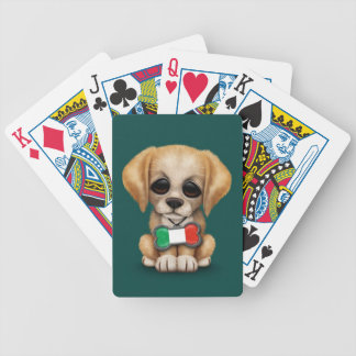 Cute Puppy with Italian Flag Pet Tag Teal Playing Cards