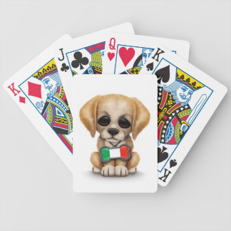 Cute Puppy with Italian Flag Pet Tag White Card Decks