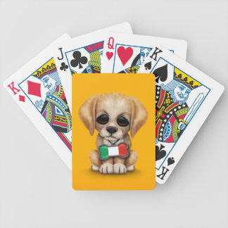 Cute Puppy with Italian Flag Pet Tag Yellow Playing Cards