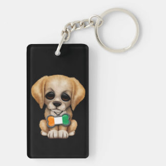 Cute Puppy with Ivory Coast Flag Tag, black Double-Sided Rectangular Acrylic Keychain