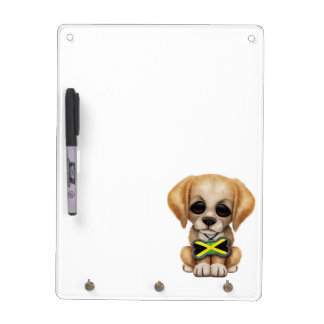 Cute Puppy with Jamaican Flag Dog Tag Dry Erase Whiteboards