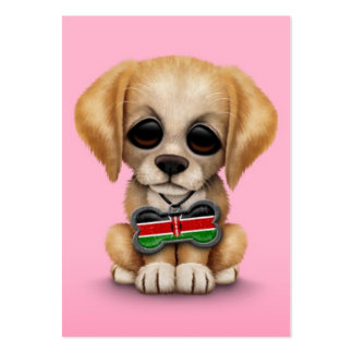 Cute Puppy with Kenyan Flag Dog Tag, pink Large Business Card
