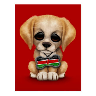 Cute Puppy with Kenyan Flag Dog Tag, red Postcard
