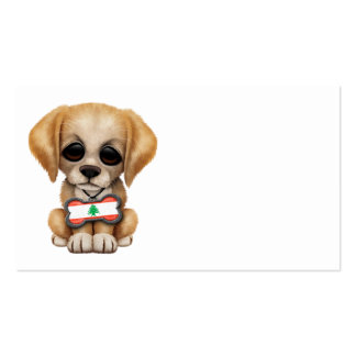 Cute Puppy with Lebanese Flag Dog Tag Business Card Template
