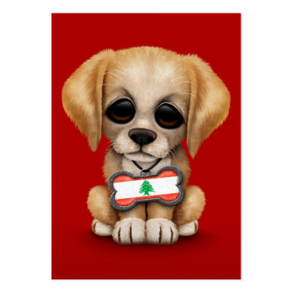 Cute Puppy with Lebanese Flag Dog Tag, red Business Card
