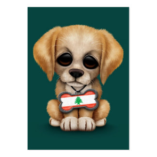 Cute Puppy with Lebanese Flag Dog Tag, teal Business Cards