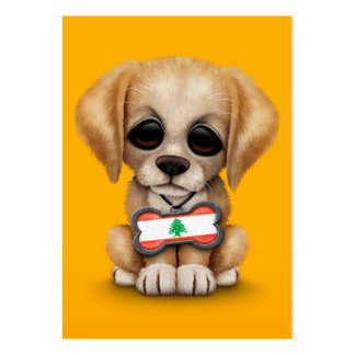 Cute Puppy with Lebanese Flag Dog Tag, yellow Business Card Template