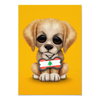 Cute Puppy with Lebanese Flag Dog Tag, yellow Card