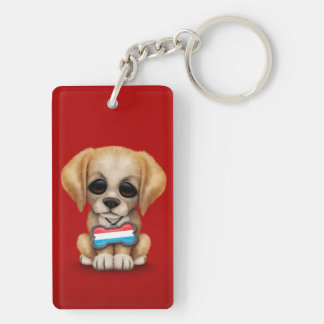 Cute Puppy with Luxembourg Flag Dog Tag, red Keychain