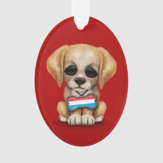 Cute Puppy with Luxembourg Flag Dog Tag, red Ornament