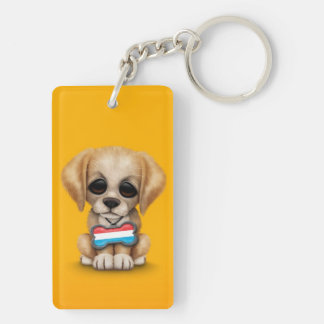 Cute Puppy with Luxembourg Flag Dog Tag, yellow Keychain