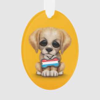 Cute Puppy with Luxembourg Flag Dog Tag, yellow Ornament