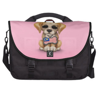 Cute Puppy with Malaysian Flag Dog Tag, pink Laptop Commuter Bag