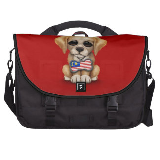 Cute Puppy with Malaysian Flag Dog Tag, red Laptop Bags