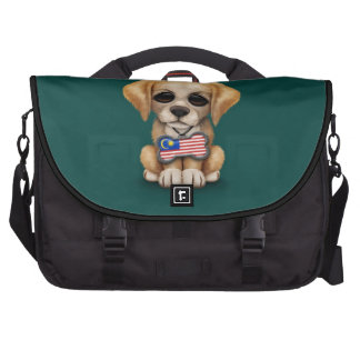 Cute Puppy with Malaysian Flag Dog Tag, teal Laptop Bags