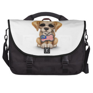 Cute Puppy with Malaysian Flag Dog Tag, white Laptop Commuter Bag