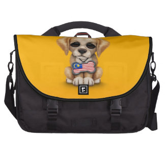 Cute Puppy with Malaysian Flag Dog Tag, yellow Computer Bag