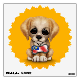 Cute Puppy with Malaysian Flag Dog Tag, yellow Wall Decal