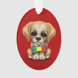 Cute Puppy with Mali Flag Dog Tag, red Ornament