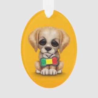Cute Puppy with Mali Flag Dog Tag, yellow Ornament