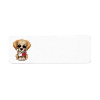 Cute Puppy with Maltese Flag Dog Tag Return Address Label
