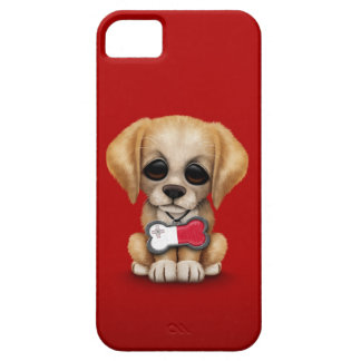 Cute Puppy with Maltese Flag Dog Tag, red iPhone 5 Case