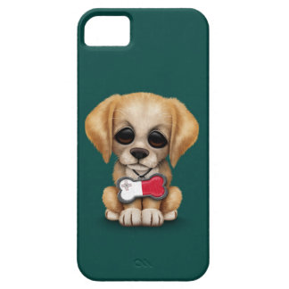 Cute Puppy with Maltese Flag Dog Tag, teal iPhone 5 Covers
