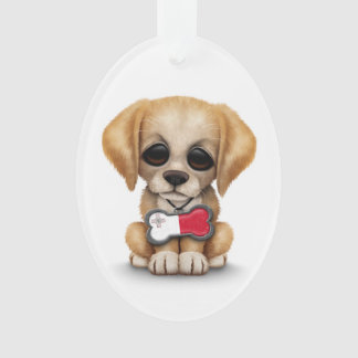 Cute Puppy with Maltese Flag Dog Tag white