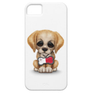 Cute Puppy with Maltese Flag Dog Tag, white iPhone 5 Cover