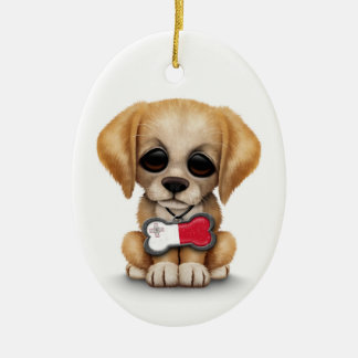 Cute Puppy with Maltese Flag Dog Tag white Christmas Ornaments
