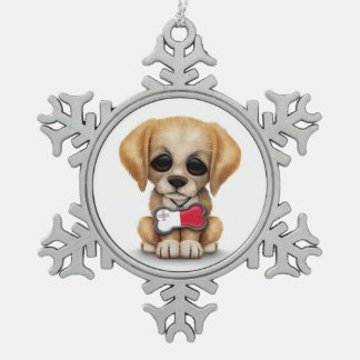 Cute Puppy with Maltese Flag Dog Tag white Ornaments