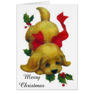 Cute Puppy with Merry Christmas Holly Card