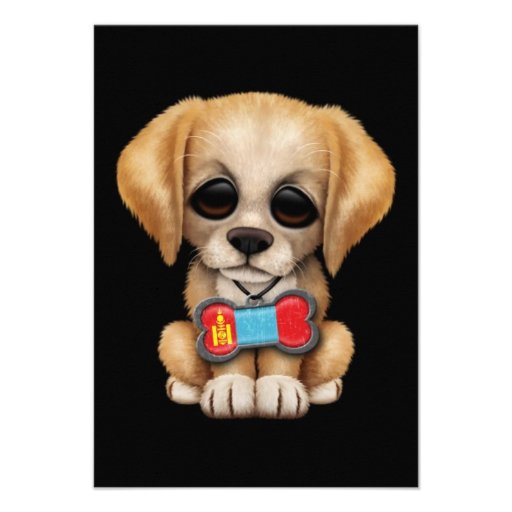 Cute Puppy with Mongolian Flag Dog Tag, black Custom Invitations