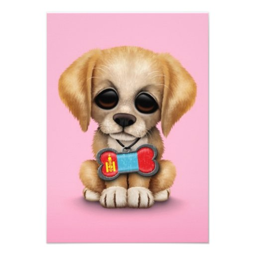Cute Puppy with Mongolian Flag Dog Tag, pink Custom Announcement