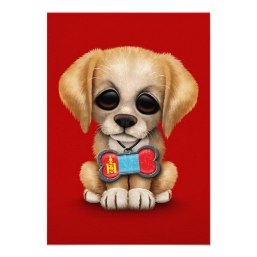 Cute Puppy with Mongolian Flag Dog Tag, red Personalized Invitation