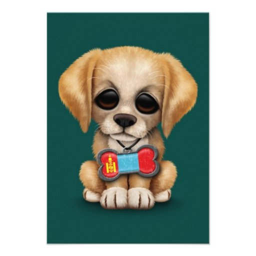 Cute Puppy with Mongolian Flag Dog Tag, teal Invitation