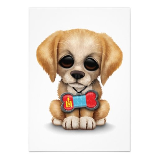 Cute Puppy with Mongolian Flag Dog Tag, white Personalized Announcements