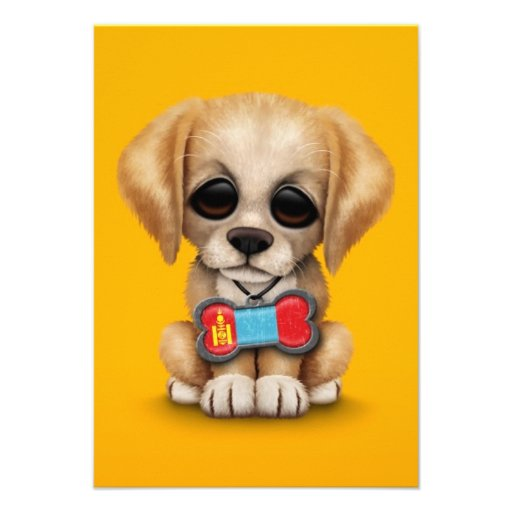 Cute Puppy with Mongolian Flag Dog Tag, yellow Personalized Announcements