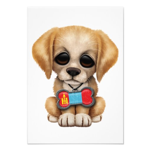 Cute Puppy with Mongolian Flag Pet Tag Personalized Invite