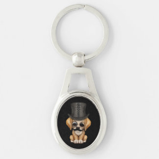 Cute Puppy with Monocle and Top Hat Black Keychain