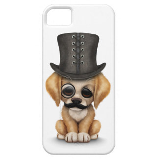 Cute Puppy with Monocle and Top Hat White iPhone SE/5/5s Case