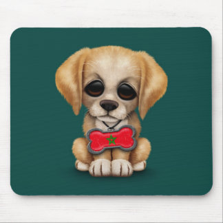 Cute Puppy with Moroccan Flag Dog Tag, teal Mouse Pad