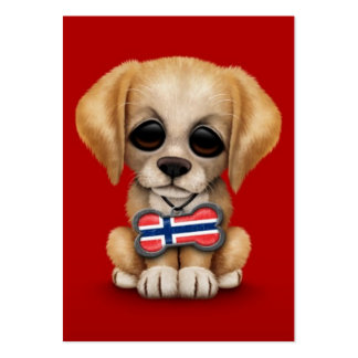 Cute Puppy with Norwegian Flag Dog Tag red Business Card