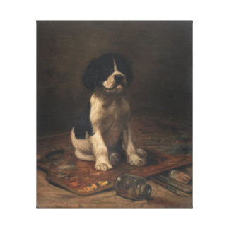 Cute Puppy with Paint Palette by FW Rogers Canvas Print