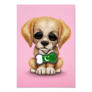 Cute Puppy with Pakistani Flag Dog Tag, pink 3.5x5 Paper Invitation Card