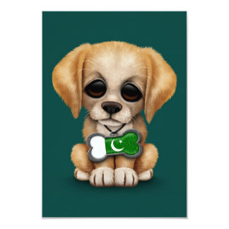 Cute Puppy with Pakistani Flag Dog Tag, teal 3.5x5 Paper Invitation Card