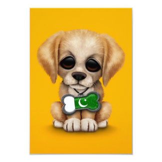 Cute Puppy with Pakistani Flag Dog Tag, yellow 3.5x5 Paper Invitation Card